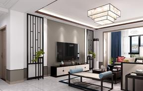 120平米新中式三室一厅装修效果图