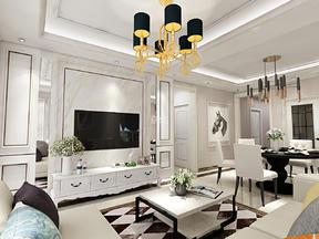三居室130平米简欧风格效果图